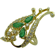 Estate KGJ 14K Yellow Gold Emerald Diamonds Cocktail Large Ring