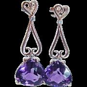 Estate H Stern 18K Rose Gold Amethyst Diamonds Drop Dangle Earrings