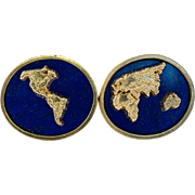 Vintage signed EDS 14K Yellow Gold Lapis Lazuli Earth Continents Cufflinks 18.5g
