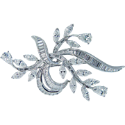 Vintage Van Clief 7.56cts Diamonds Platinum Brooch Pendant Designer Signed