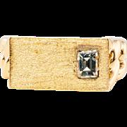 Vintage 14K Yellow Gold .25ct Emerald cut IF - G Diamond Mens Man Ring