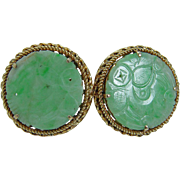 Vintage 14K Yellow Gold Green carved Jade Cufflinks 30mm Diameter Large 24.4 gr
