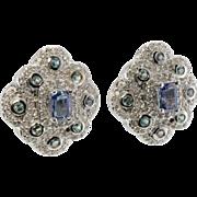 Estate 14K White Gold Sapphires Tsavorites Diamonds Earrings