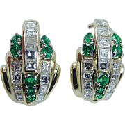 Estate 18K Yellow Gold 1.82cts square Diamonds .56cts Emeralds Earrings Omega