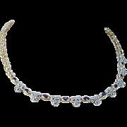 Estate 14K Yellow Gold Hallmarked M.E Sapphire Diamonds Choker Necklace