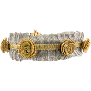 One of a Kind 14K Yellow White Gold Woven Mesh Bracelet with Roses Flowers Italy