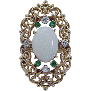 Vintage 14K Yellow Gold Opal Emeralds Diamonds Filigree Large Cocktail Ring