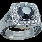 Estate 14K Gold White Black 3.20cts Diamonds Skull  Ring Unique
