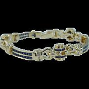 Estate 18K Yellow Gold 3.78cts Sapphires .60ct Daimonds Bracelet 38.1 gr