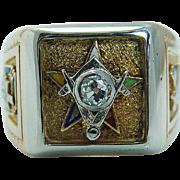 Vintage Hallmarked 14K Yellow Gold Eastern Star Diamond Masonic Men Mens Ring