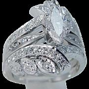 Vintage 14K White Gold 1.58cttw Diamonds Engagement Ring Wrap Cage Guard Set