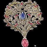 Antique 14K Gold Ruby Sapphire Rose cut Diamonds Convertible  Pendant Brooch