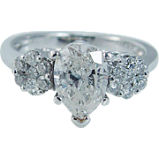 Estate 14K White Gold 1.53 cttw 1.25ct Pear cut center Diamond Engagement Ring