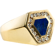Vintage 14K Yellow Gold Lapis Lazuli Diamonds Mens Gold for Man