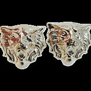 Estate 14K Yellow Gold Lion Earrings Omega backings 6.3 gr