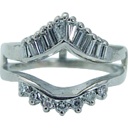 14K White Gold .54ct Diamond Guard Cage Wrap Ring for your Engagement ring