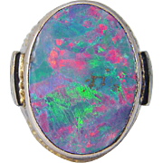 Vintage 14K Yellow Gold 5.13cts Opal Diamonds Huge Cocktail Ring 26.2gr