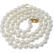 """Vintage Mikimoto Opera 18K Yellow Gold Clasp 8-8.5mm AA Pearls 29"""" Necklace BOX"""