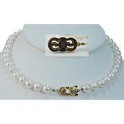 """Vintage Mikimoto 18K Yellow Gold Clasp 8-8.5mm AA Cultured Akoya Pearls 15.75"""" Necklace"""