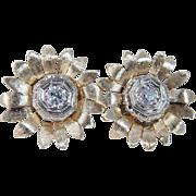 Vintage 14K Yellow Gold .80ct Old Euro cut Diamonds Earrings Omega locks