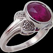 Estate 14K White Gold 8mm 2.35ct Genuine Ruby Diamonds Ring
