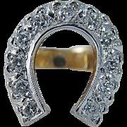 Vintage 14K Yellow Gold .77ct Diamonds Good Luck Horseshoe Ring 12.0gr