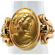 Vintage 14K Yellow Gold Etruscan style Intaglio Cameo Flip interchangeable Ring