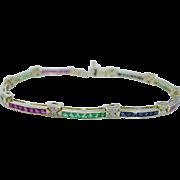 Estate 14K Yellow Gold Cleanest Rubies Sapphires Emeralds Diamonds Bracelet