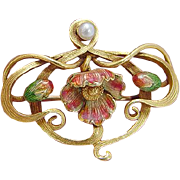 Art Nouveau 18K Yellow Gold Enamel Pearl Brooch Pin Pendant for Necklace