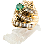 18K Yellow Gold Colombian .72ct Emerald 1.38cts Diamonds Cocktail Ring Vintage Jewelry