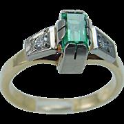 Vintage 18K Yellow Gold Russian Emerald Diamonds Ring USSR Soviet Union