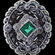 Vintage Old c.1920s Emerald Diamonds 14K White Gold Ring Large Cocktail