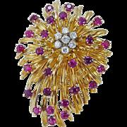 "Vintage 18K Yellow Gold Tiffany & Co Ruby Diamonds Brooch Pendant 32.1gr 2-1/8"""