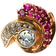 Vintage Retro 14K Rose Gold 1.35cts Diamond Ruby Cocktail Ring