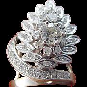 Vintage 18K White Gold 1.38ct Diamond Retro Cocktail Ring