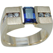Men Estate 14K Yellow Gold Sapphire Diamonds Square band Ring for Man