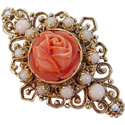 Vintage 14K Yellow Gold Pearl Carved Coral Rose Flower Angel skin Brooch Pin Pendant