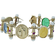"""14K Yellow Gold Venetian glass Cameo Ruby Pearls Station Bracelet 8"""" Long Italy"""