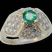 Estate 14K Yellow Gold .60ct VS1 G Diamonds .27ct Colombian Emerald Ring