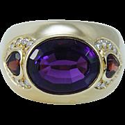 Estate H Stern 18K Yellow Gold Amethyst Garnet Diamonds Band Ring