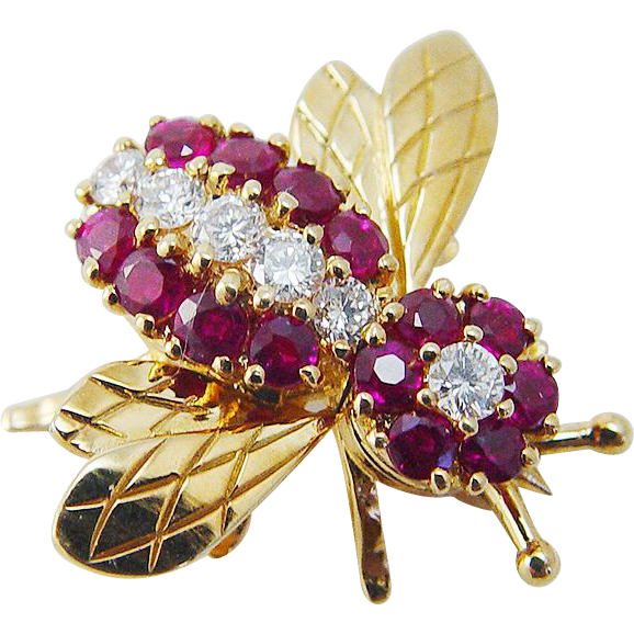 Vintage Tiffany & Co 18K Yellow Gold Ruby Diamonds Bee Bug Fly Pin Brooch Pendant