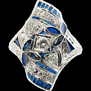 Vintage 18K White Gold .38ct Diamonds Sapphires Blue Enamel Etched Ring