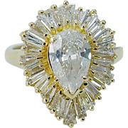 Estate 18K Yellow Gold 2.80cts Pear and Tapered Diamonds Ballerina Ring