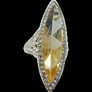 Vintage 18K Yellow Gold Golden Quartz Rose cut diamonds Large Cocktail Ring