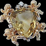 Vintage 14K Yellow Gold Quartz Cherubs Angels Diamonds Huge Brooch for Pendant possibility