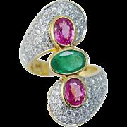 Estate 18K Yellow Gold Pink Sapphires Emerald Diamonds Large Ring