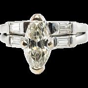 Vintage Platinum 1.32cttw Marquise Diamond Engagement Wedding Ring Band