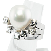 Estate 18K White Gold South Sea Pearl 1.80cts Square Diamonds Cocktail Ring