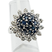 Estate 14K White Gold 1.05cts Diamonds 2.24cts Sapphires Cocktail Ring