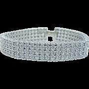"Estate 14K White Gold 10.40 ct Diamond Tennis 4 rows Diamonds Bracelet 8.5"" Long"